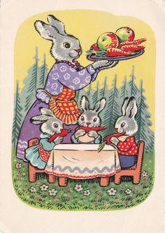 Vintage Postcard soviétique (1969) / bébé lapins manger carottes / artiste Konstantin Zotov