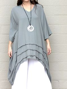 OH MY GAUZE Cotton Drip-Side Tucked Hem  GENEVA  Long Tunic  OS+ 1X/2X/3X  STEEL #OHMYGAUZE #Tunic #Versatile