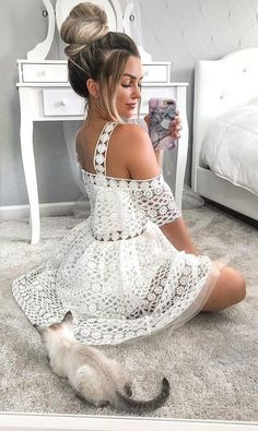 white lace short homecoming dresses for teens, simple straps a line graduation party dress, chic summer skirts Dresses For Teens, Simple Dresses, Elegant Dresses, Cute Dresses, Dresses Dresses, Crochet Dresses, Mini Dresses, Beach Dresses, Frock Fashion