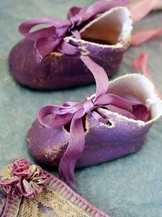 Vintage purple baby shoes shabby chic