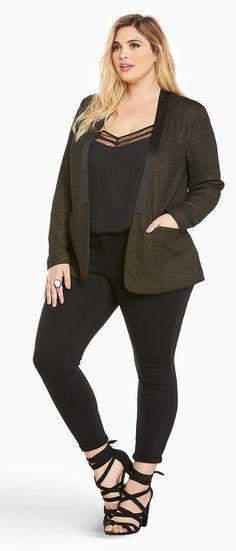 Plus Size Shine Knit Open Front Blazer