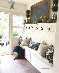 Likes, 94 Comments - Designer - Rhonda Hallstrom (HallstromHome Creating Custom Mirrors, Linen Flur Design, Mudroom, Entryway Decor, Kitchen Entryway Ideas, Entryway Bench, Home Projects, Home Remodeling, Farmhouse Decor, Urban Farmhouse