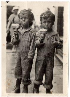 fun VINTAGE 1920's PHOTO Ice Cream Cones for by vintagewarehouse, $5.00 Notice the double scoop cones!