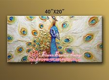 "O8P878 40*20"" Hand painted Oil Paintings Art home Decor Lucky Peacock NO Frame"