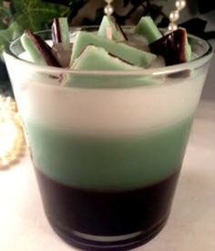 Scented mint chocolate parfait style candle #handmade #Chocolate #Mint #Parfait