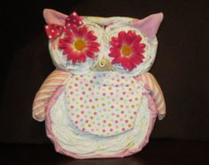 The Great Diaper Owl (XL Size about 16 inches tall x 15 inches wide) Baby Shower Centerpiece, Mom to Be Gift, Nursery Decoration