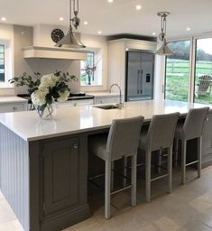 Kitchen Inspirations, decor ideas for kitchens, kitchen layout, farmhouse kitchen decorations, dining room Open Plan Kitchen Dining Living, Kitchen Island With Seating, Living Room Kitchen, Home Decor Kitchen, Kitchen Interior, Kitchen Ideas, Kitchen Islands, Diy Kitchen, Awesome Kitchen