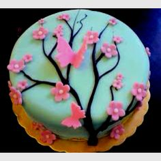 Very simple cherry blossom cake with butterflies 16th Birthday Cake For Girls, Birthday Cake With Flowers, Birthday Cake Pictures, Birthday Cake Girls, First Birthday Cakes, Birthday Ideas, Cakes To Make, Fancy Cakes, Beautiful Cakes