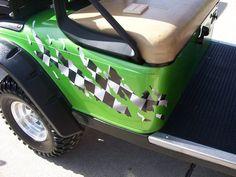 Golf Cart  RIPPED Racing CHECKERED FLAG Graphics Set fit EZGO club Car Yamaha #3M