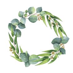water colour foliage wreath | Royalty Free Floral Wreath Watercolor Clip Art, Vector ...