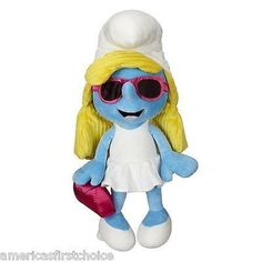 "Smurfette Jumbo 21"" Plush Pink Clutch Purse Sunglasses Diva Smurfette-Jakks-New!"