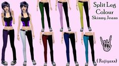 Clothing: Split Leg Colour Emo Punk Skinny Jeans from Rujiyaxx Simmer Sims 4 Clothing, Female Clothing, Sims 4 Clutter, Split Legs, Colored Skinny Jeans, Sims 4 Mods, Emo Outfits, Sims Cc, Emo Fashion