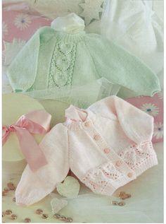 baby & girls cardigan and sweater dk knitting pattern Baby Knitting Patterns, Baby Cardigan Knitting Pattern Free, Knitted Baby Cardigan, Knit Baby Sweaters, Knitting For Kids, Girls Sweaters, Baby Patterns, Sweater Cardigan, Baby Girl Cardigans