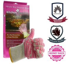 Premium Cooking Gloves Heat Resistant - Extra Length- Super Silicone Grip!