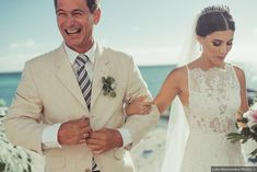 Father and bride wedding pictures, high neck wedding dress