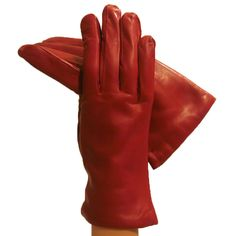 Garnet Red Opulent but Simple Italian Leather Gloves Cashmere-lined