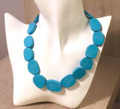 Blue Necklace, Beaded Necklace, Turquoise Necklace, Handmade Necklaces, Handmade Jewelry, Polymer Clay Necklace, Birthday Gifts For Her, Affordable Jewelry, Clay Beads