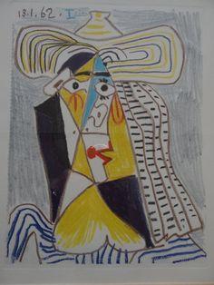"""Pablo PICASSO (1881-1973) Tete de femme au chapeau"""" Farblithografie, in Platte bezeichnet,in 2000-er — Grafik, Gerahmtes"""