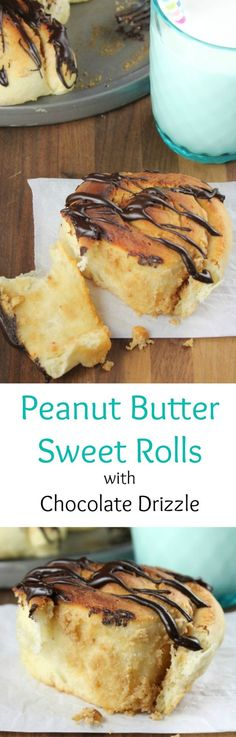 Recipe for Peanut Butter Sweet Rolls with Chocolate Drizzle Recipe from Miss in the Kitchen