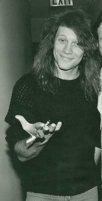 Jon Bon Jovi B&W late 80's pic. Wonder which car those keys belong to...