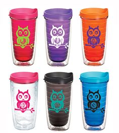 Preppy Monogram Owl Tervis Tumbler from Under the Carolina Moon Preppy Monogram, Anchor Monogram, Tervis Tumbler, Tumbler Cups, Tumblers, Owl Kitchen, Southern Boutique, Owl Always Love You, Cute Owl