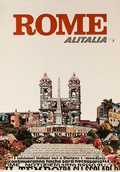DP Vintage Posters - Rome, Alitalia Original Airline Travel Poster, Spanish Steps