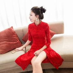 Red Lace Modern Qipao Dresses Casual Collar Cheongsam Dress Formal Traditional Chinese Oriental Clothing Women Vestido Chines
