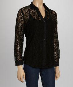 Black Lace Button-Up & Camisole by Quiz #zulily #zulilyfinds