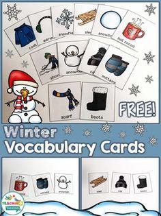 Winter Vocabulary Cards (Free!) by teachingtalking.com