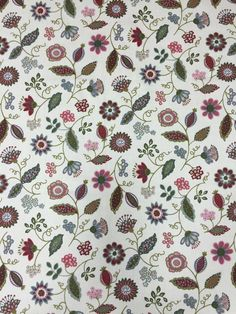 Cotton fabric with colorful wild Flowers, pink blue red green flowers, Scandinavian design by SanFabric on Etsy