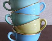 yellow and blue vintage coffee cups