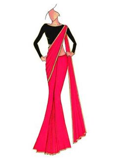 Pink Georgette saree with Black Raw Silk Blouse