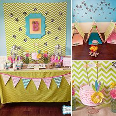 If your girlie girl has a romantic notion of camping, you don't want to miss this stylish girlie camping-themed birthday party. It's the camping party little girls' dreams are made of! Source: Wendy Updegraff Photography