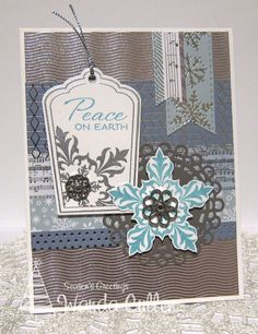 Hand stamped Christmas card by Wanda Cullen using the Glad Tidings stamp set from Verve. #vervestamps