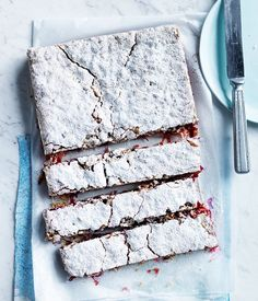 Rhubarb, lime and coconut slice