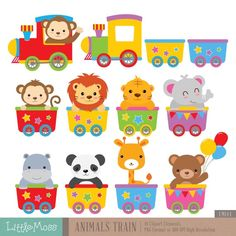 Wild Animals Train Digital Clipart by LittleMoss on Etsy maternelle Clipart Baby, Train Clipart, Diy And Crafts, Crafts For Kids, Paper Crafts, Decoration Creche, Deco Baby Shower, Baby Animals, Wild Animals