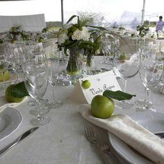 Mise en place di nozze tavolo mela verde