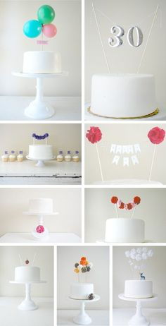 Whimsical toppers in Decoration for babies, children and adults parties, for events such as anniversaries or birthdays or dinners. simple white cake and so many possibilities Pretty Cakes, Cute Cakes, Beautiful Cakes, Amazing Cakes, Diy Cake Topper, Cake Toppers, Diy Birthday, Birthday Parties, Birthday Cakes