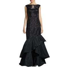 Teri Jon Sleeveless Sequined Mermaid Gown