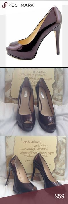 """Guess Plum Peep-toe Heels 9M Guess plum colored, peep-toe shoes with 5"""" heel and 1"""" platform. The color is absolutely gorgeous. First picture is a stock photo that portrays the color a little better than my photos. (S0220-016) Guess Shoes Heels"""