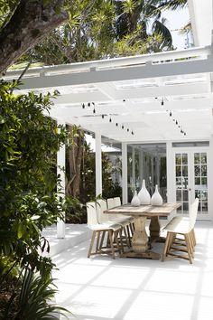 Natural Wood Dining Table, Timber Dining Table, Outdoor Dining, Outdoor Spaces, Dining Chair, Outdoor Pergola, Backyard Pergola, Rose Garden Design, Tropical Garden Design