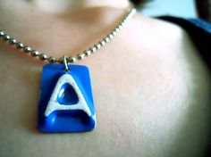 A is for Amanda Necklace - Recycled License Plates