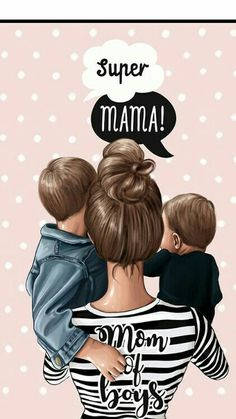 Mom of Boys Mother Daughter Art, Mother Art, Mother And Child, Mommy And Son, Mom Son, Mothers Of Boys, Mothers Love, Girly Drawings, Family Illustration