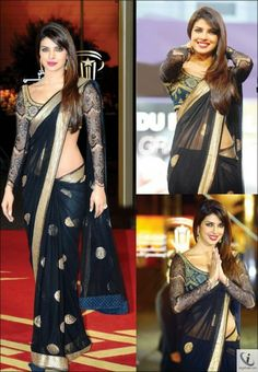 Priyanka Chopra Blackberry Bollywood Replica Saree