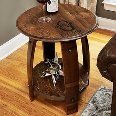 Buy the Personalized Whiskey Barrel Table at Wine Enthusiast – we are your ultimate destination for wine storage, wine accessories, gifts and more! Whiskey Barrel Coffee Table, Wine Barrel Coffee Table, Whiskey Barrels, Coffee Tables, Bourbon Barrel Furniture, Personalized Whiskey Barrel, Personalized Wine, Barrel Projects, End Tables