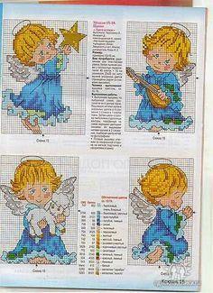 ♥Meus Gráficos De Ponto Cruz♥: Anjos para o Natal em Ponto Cruz