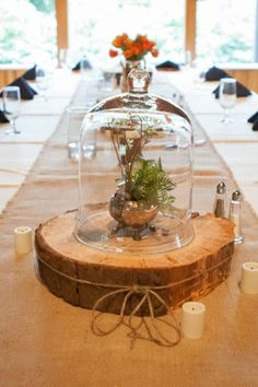 Woodland Rustic Wedding: Krista   Justin Part II---interesting--like the idea of tying ribbone around