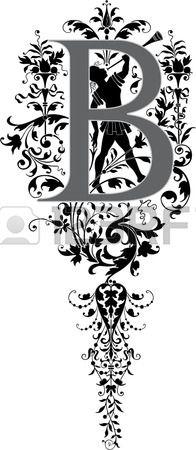 Estilo fantasía, alfabeto Inglés, letra B, escala de grises Foto de archivo - 23262808