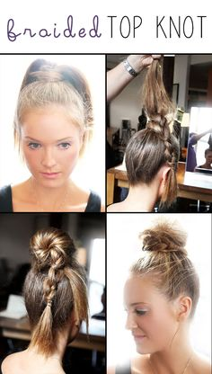 Steps for this braided top knot.
