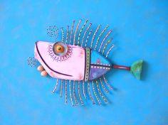 Pale Pink Tuna Original Found Object Wall by FigJamStudio on Etsy